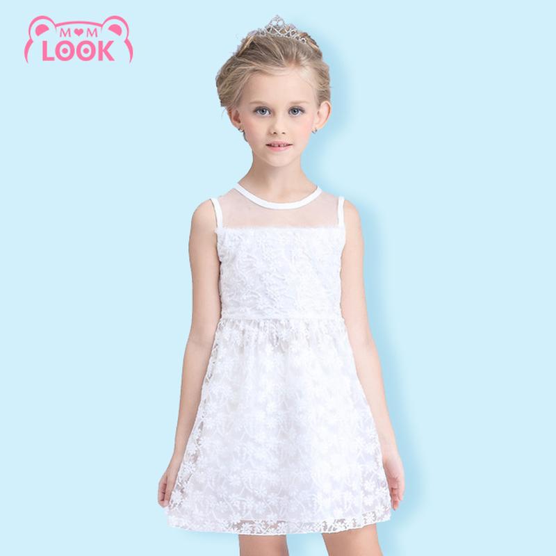 2016 New White Purple Girls Dress Mesh Sleeveless Princess Dress Kids Clothes Floral Design Girls Dress Party Dresses 110-150CM(China (Mainland))