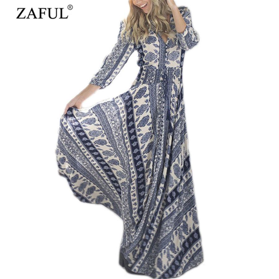 2016 Spring Summer Elegant Women Vintage V Neck Tassel Fringe Boho Long Maxi Dress Sexy Ladies Floral Print Beach Hippie Dresses