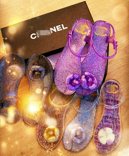Free shipping shoes spring and summer floral fashion women sandals plastic powder interspersion jelly flip-flop flat sandals