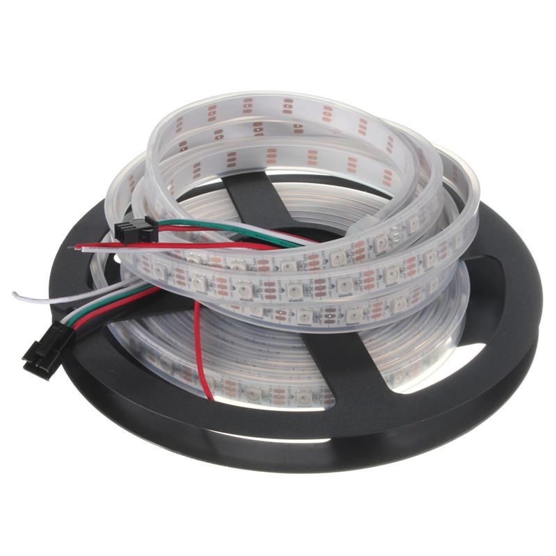 High Quality 4M Waterproof/Non Waterproof WS2812B 240led 60led/M 5050 RGB LED Strip Light Lamp Black White 72W DC5V