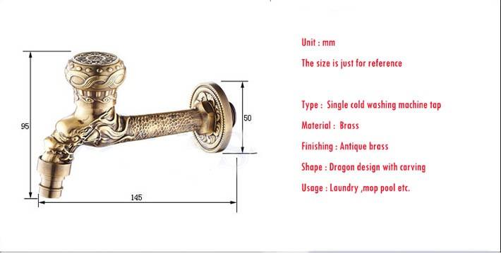 Купить Античная латунь Дракон резные кран Животных форма кран Сад Кран стиральная машина tap открытый смеситель