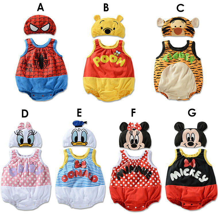CY143 100% cotton carters baby boy clothes baby Romper + cap Winnie Pooh Tigger Spiderman Donald Duck girl baby clothing set(China (Mainland))