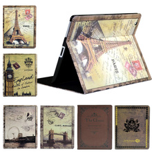 For IPad 2 3 4 Retro Paris Eiffel PU Leather Case Cover Magnetic Flip Stand Case For The New Ipad 234 With Sleep And Wake Up