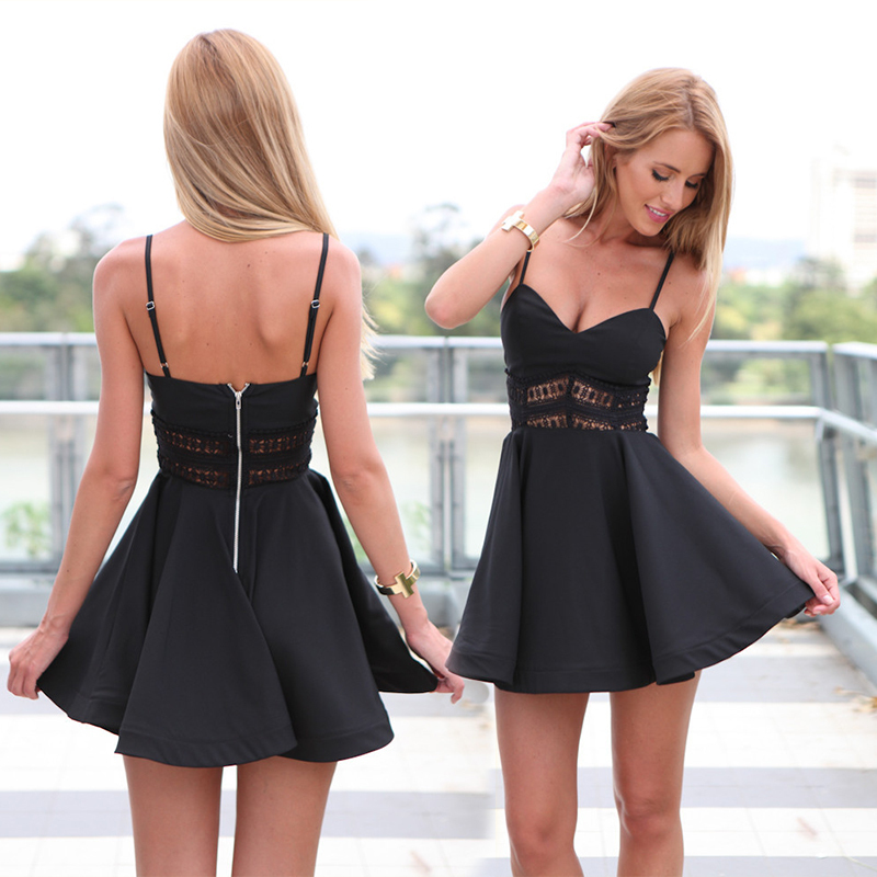 Hot Sale Sexy Club Dress 2015 Women Dress Clothing Spaghetti Strap Little Black Mini Dresses Party Night Wear Bandage Dresses(China (Mainland))