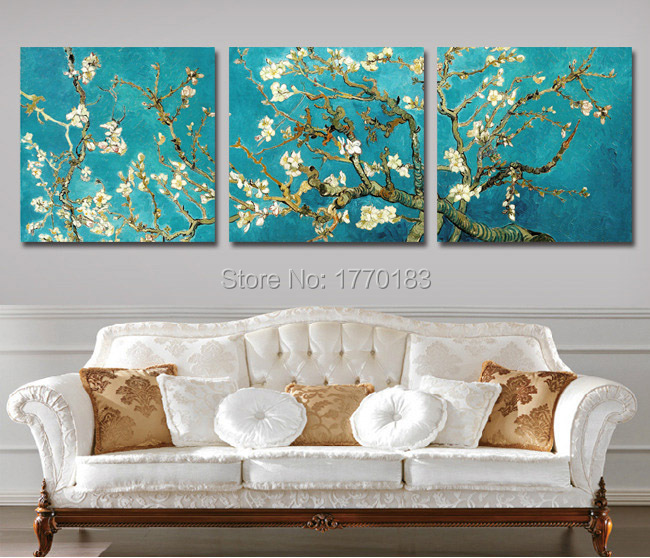 Hand Painted apricot blossom Oil Painting Van Gogh Reproductions Canvas Art Almond Flower Picture Modern Wall Decor Home Set(China (Mainland))