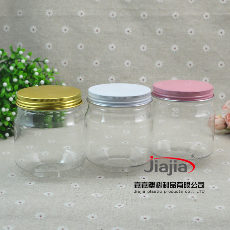 wholesale 50pcs/lot 300ml Storage Tank Plastic Can PET Jar with Golden white or pink Lid ,Food Container Plastic Tank Pot<br>