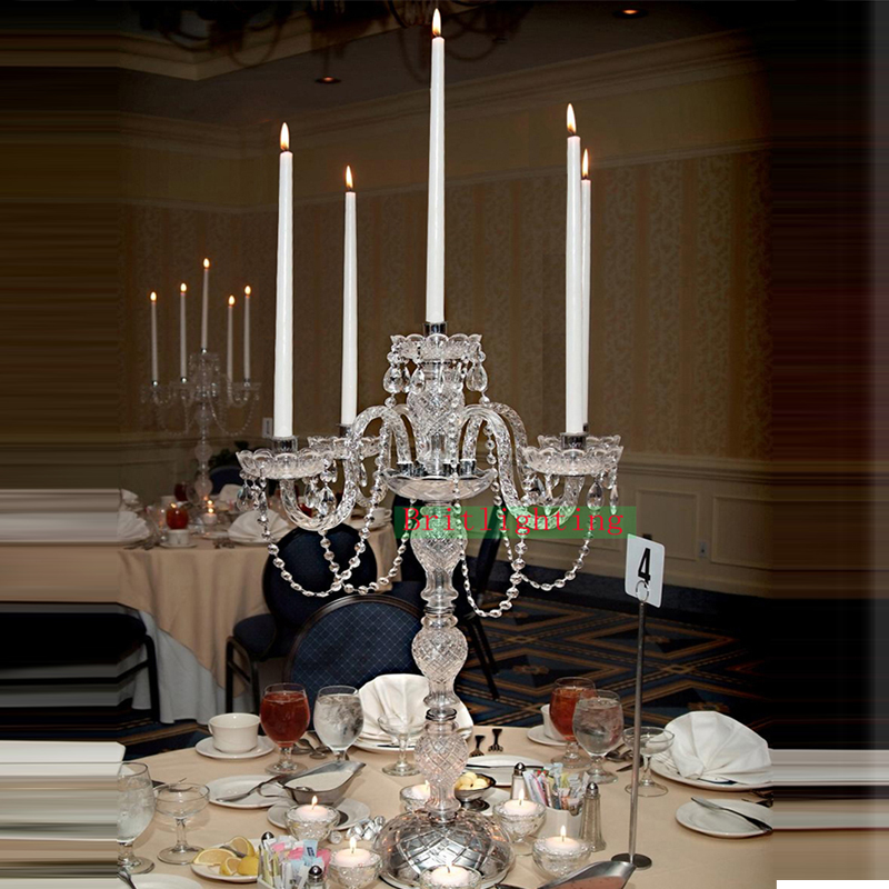 polish chrome plated candelabra candelabrum candle holder set home wedding decoration Centerpieces crystal with glass arms