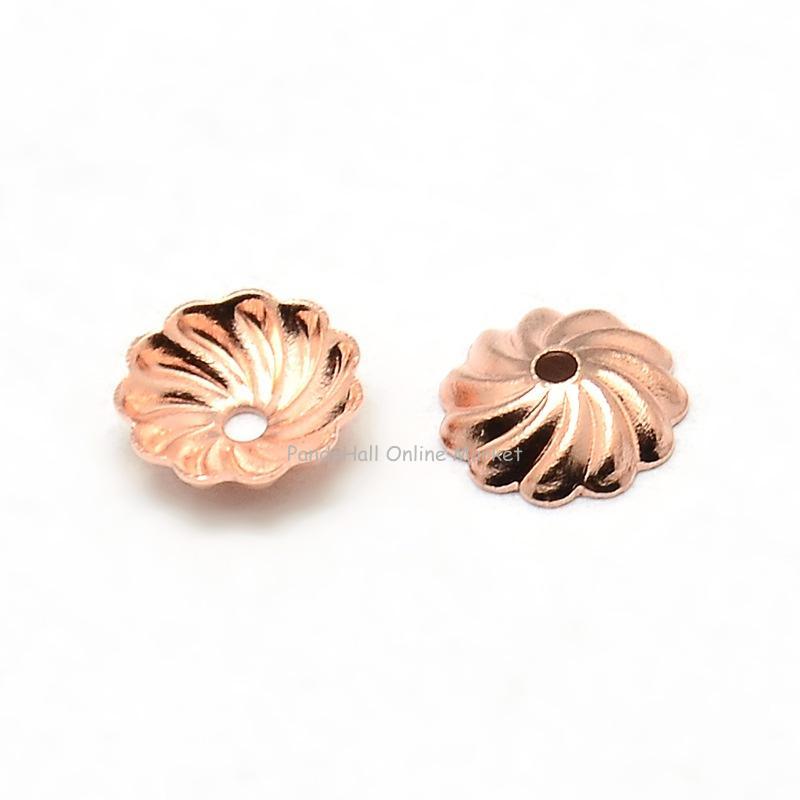 Brass Flower Bead Caps, Rose Gold, 7x2mm, Hole: 1mm