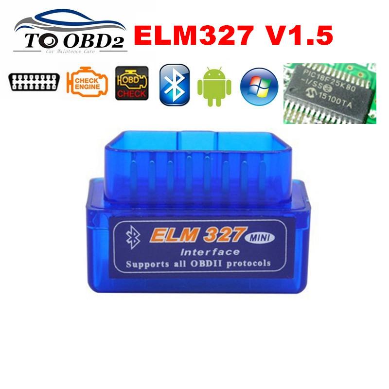 100% Firmware V1.5 PIC18F25K80 ELM327 Bluetooth V1.5 OBD2 Car Diagnostic Tool ELM 327 V1.5 Work On Android/Symbian BEST Quality(China (Mainland))