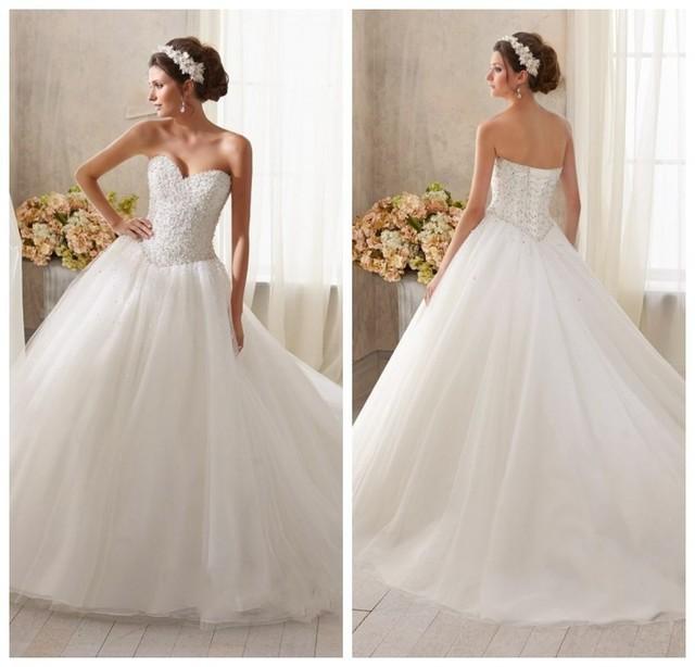 Magnificent Wedding Dresses Sweetheart Neckline Princess Vignette ...