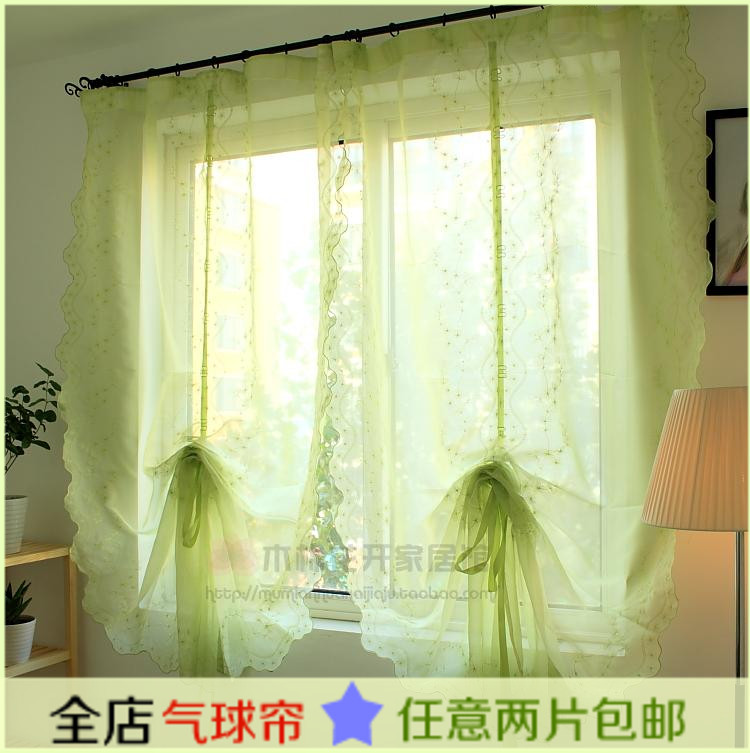 free shipping green embroidery flower balloon curtain