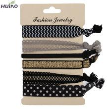 6 unids/pack elegante caliente del patrón de colores sin pliegue lazos del pelo del Ponytail pulseras Hairband cuerda del pelo banda accesorios(China (Mainland))
