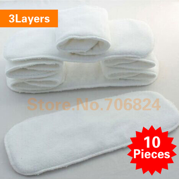 10 pcs Baby Cotton Mircrofiber Nappy Liner Reusable Washable Baby Nappy Diaper Liners Cloth Nappy Diaper Inserts 3 layers