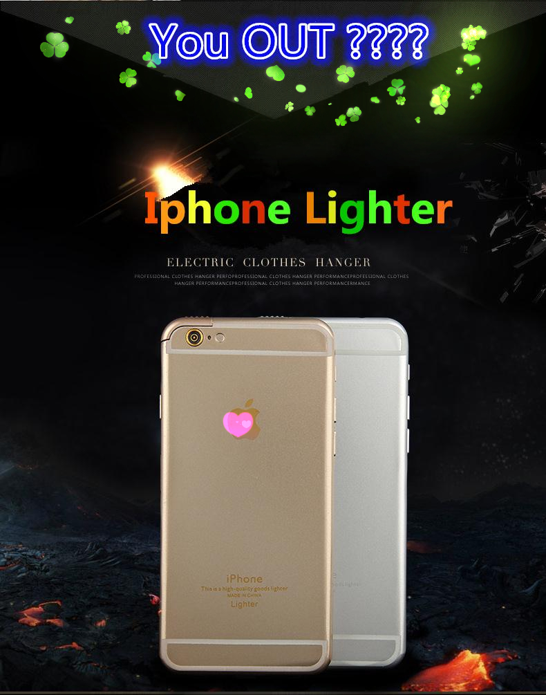 2016 Hot Design iphone lighter with lamp Cigarette Lighter Creative Smoking gas Lighters Men phone Lighters Gift for iphone 6(China (Mainland))