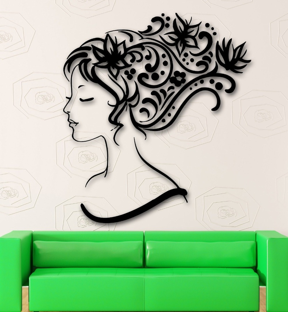 Wall stickers vinyl decal sexy girl abstract hair beauty for Abstract beauty salon