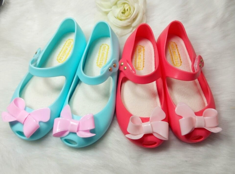 2016 New Baby Girls Princess Bow Sandals Toddler Soft Candy Color Shoes Mini Melissa Same Style Jelly Shoes with fragrance<br><br>Aliexpress