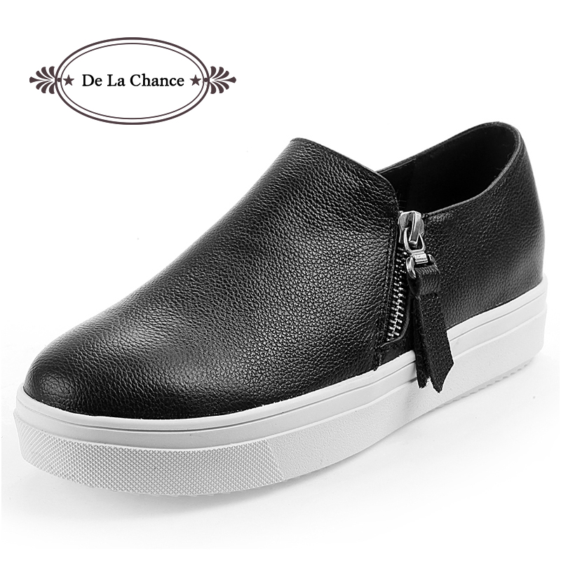 Free Shipping 2016 New Style Top Quality Women Casual Shoes Slip On Zip Shoes Adult Fashion Creepers Platform Shoes Hidden Wedge(China (Mainland))