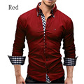 New Men s Shirts Casual Slim Long Sleeve Formal Business Fit Male Shirt Plaid Shirts Clothes