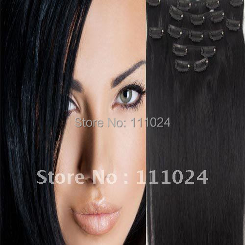 Human Hair 18'' Remy Clip Cheap China Suppliers, Extensions #1B - HairsBay store