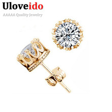 50% off 925 Sterling Silver Male Crystal Cute Earings Cubic Zircon for Women Bigiotteria Cristallo Platinum 24K Gold Plated Y048(China (Mainland))