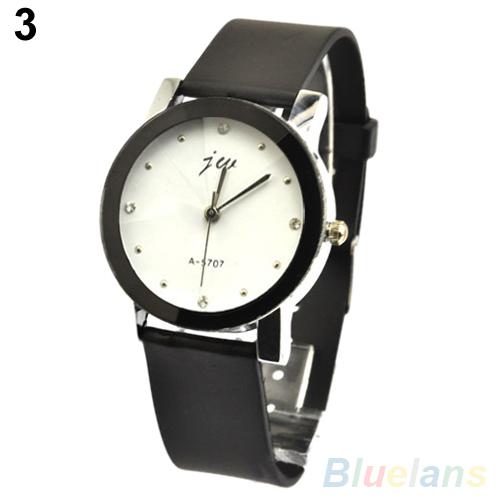 Мужская женская любовник пару часов искусственной кожи сверхразмерные круглый циферблат кварцевые наручные часы 1orc 4mlg