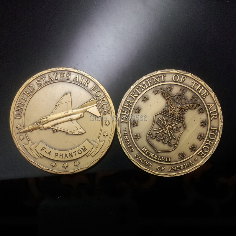 Free shipping 10pcs/lot Department Of The Air Force United States Air Force F-4 Phantom souvenir coin(China (Mainland))