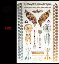 2016 new gold silver metal waterproof henna tattoos female golden wings arrow temporary tattoos
