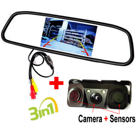 3 in1 Auto Video Parking Monitor, 4.3 Inch Car Mirror Monitor With Parking Sensors Camera, Sound Alarm and Display Distance(China (Mainland))