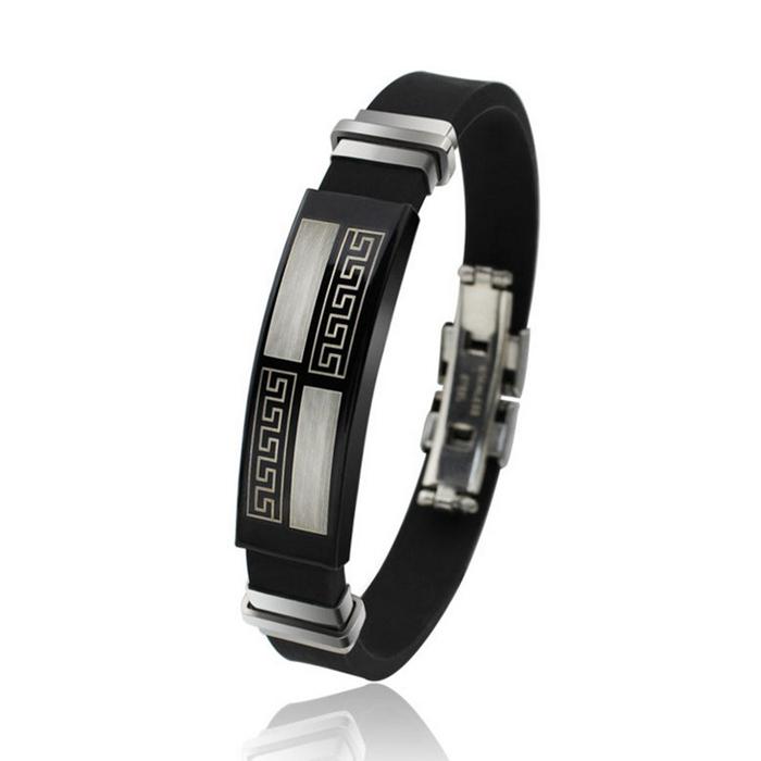 ORSA Hot Sale Titanium Steel Silicone Black Bracelet Fashion Style Great Wall Design Men Bracelet OTB12(China (Mainland))