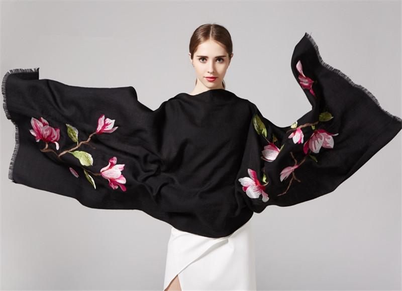 190x65cm 80yarn Wool Winter Scarf Women Embroidered Pashmina Shawls And Scarves Shawl Echarpe Foulard Bufandas Poncho SF0328(China (Mainland))