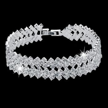 2015 новый продажа роскошный горный хрусталь кристалл браслеты для женщин мода браслетов ...