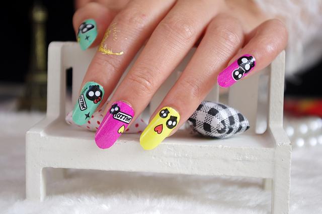 Y5211 Клей искусства ногтя наклейки Kawaii шаржа черепа Улыбнуться дизайн ногтей Обертка фольга наклейки Маникюр Декор Cute Таблички Новый 2015