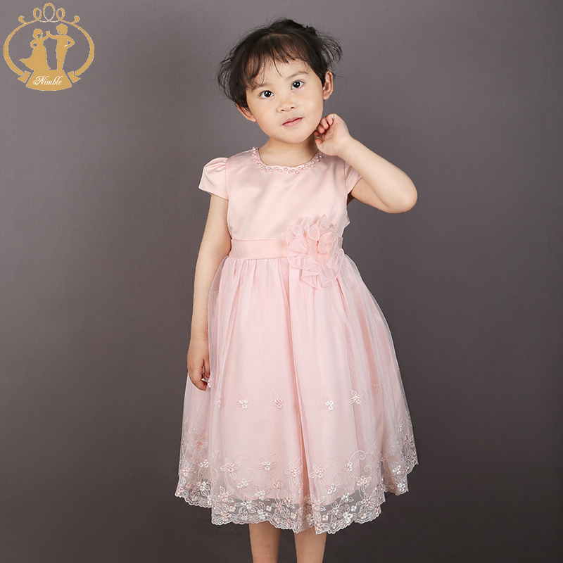 Nimble Embroidery Flower Beading Baby Girls Dress Mid-Calf O-neck Princess Dress Ivory Pink&Orange Two colors Available(China (Mainland))