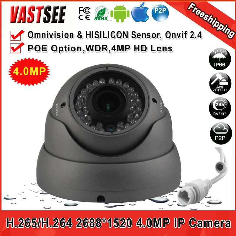 H.265/H.264 4.0MP Camera IP FULL HD 2688*1520 POE indoor varifocal lens onvif2.4 Night Vision security CCTV camaras de seguridad(China (Mainland))