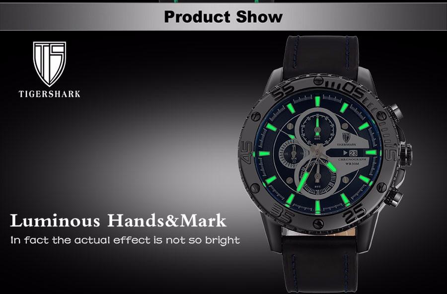 2016 TIGERSHARK популярный бренд световой зеленый циферблат часы мужчины спорт хронограф 30 М водонепроницаемый дата натуральная кожа наручные часы
