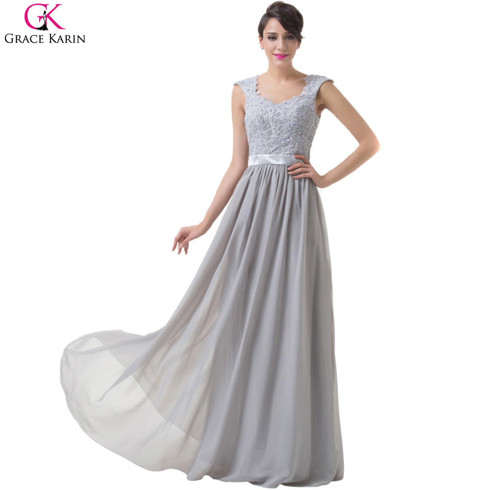 Grace Karin Evening Dresses Sleeveless Lace Chiffon Gray Robe De Soiree Long Formal Gowns Wedding Party Special Occasion - Flagship Store store