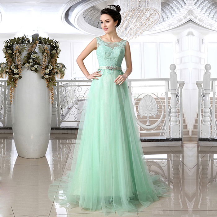 Romantic Crystal Mint Green Lace Wedding Dresses Jewel