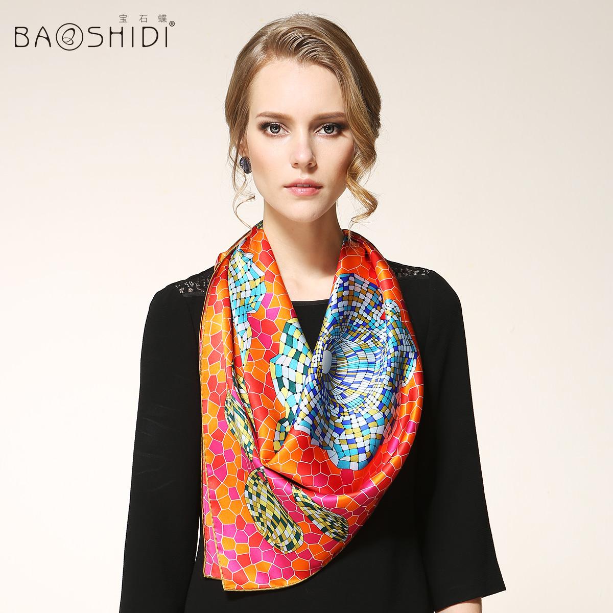 100% Foulard Women Fashion Brand Silk Lady Scarf Designers Shawls Fast Arrival Dhl Express Free Shipping 88x88cm(China (Mainland))