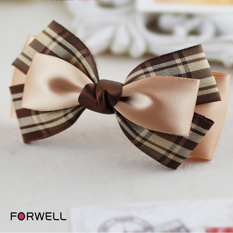 New Arrival Big plaid silk and satin multilayer bow knot Fashion hair clip hair accessories for women girls hairpins headwear(China (Mainland))