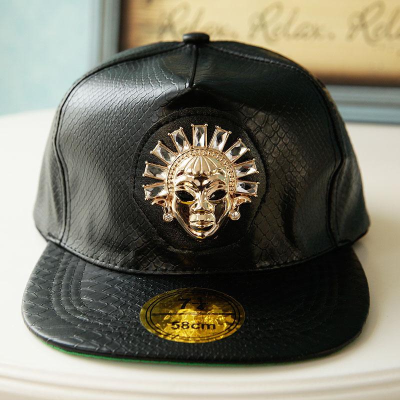snakeskin pattern baseball cap free shipping new Indian diamond hip hop along imitation leather flat cap Benn(China (Mainland))