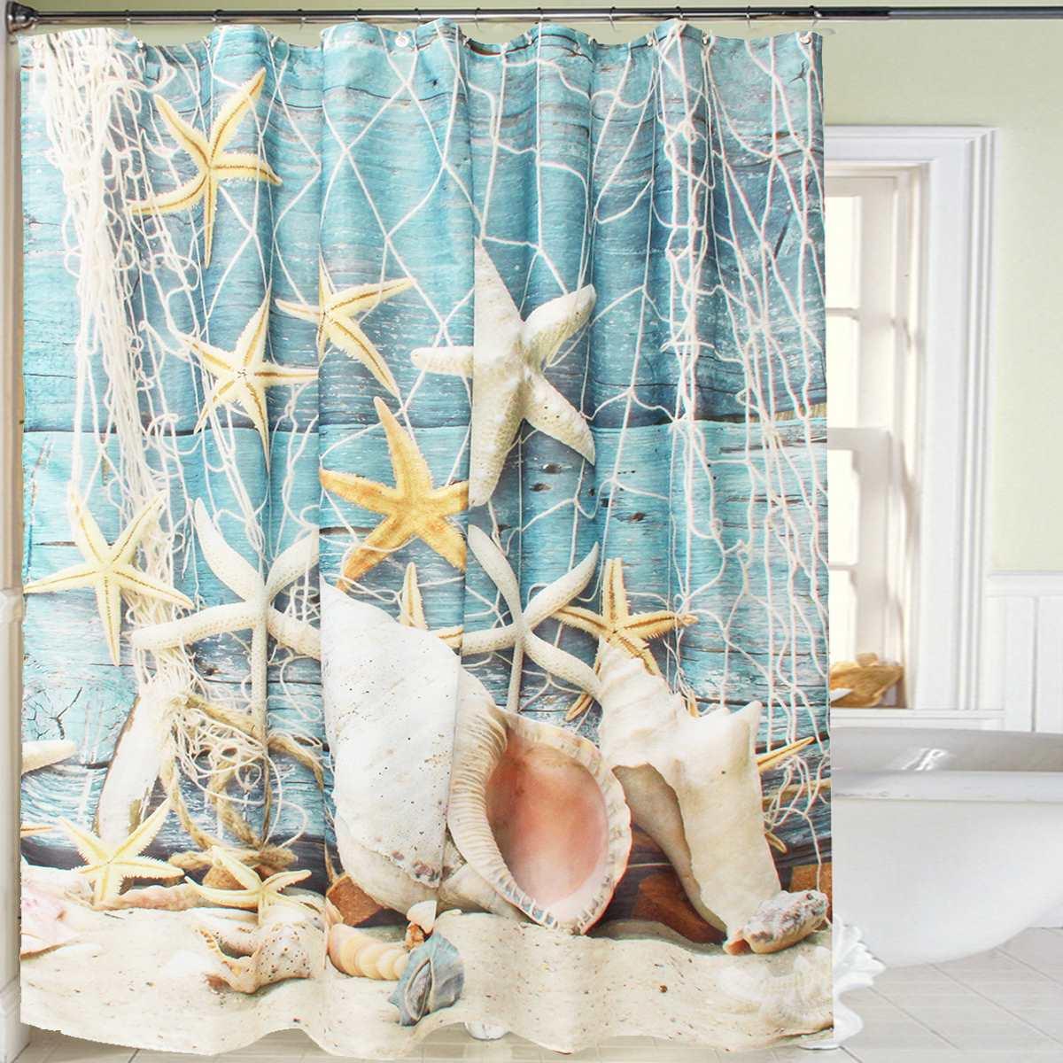 180X180cm Shell Beach Bathroom Shower Curtain Polyester Waterproof Sheer Shower Screen Hooks Home Hotel Bathroom Ornament(China (Mainland))