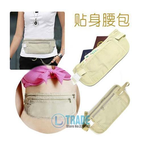2pcs/lot Safe Travel Money Passport Waist PacksUltra-thin close-fitting hidden Waist BAG Strap Holders Wallets Purse A156()