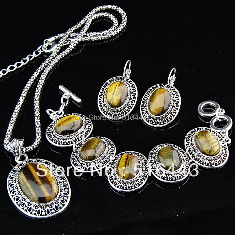 Freeshipping 3pcs Antique Silver P Large Oval Natural Tiger Stones Earrings Bracelet Necklace Women Vintage Jewelry Set A-697(China (Mainland))