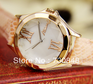 free shipping,According to the poetic beauty edges cut glass only beautiful female table shells beautiful huan pale gold watch(China (Mainland))