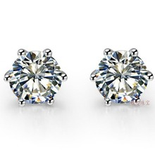 2 Carat/ Piece Fantastic Top Luxury Moissanite Engagement Earrings Stud 14K White Gold Women Wedding Earrings(China (Mainland))