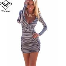 Полосатой женской одежде летнее платье 2016 с длинным рукавом платья Bodycon Vestido короткие V шеи стройный сексуальные Большой размер роковой
