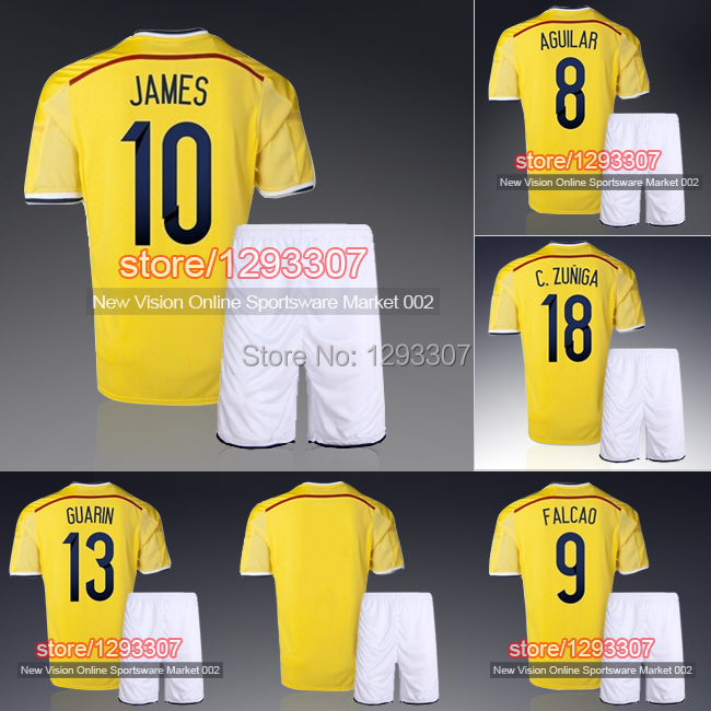 2014 World Cup Embroidery Colombian Golden Home James Falcao Football Kit Uniform Men Sports Outfit Soccer Jersey Set(China (Mainland))