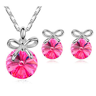Fashion jewelry / Austrian crystal elements cute bow necklace + earrings set 252 - Jinghong Jewelry store
