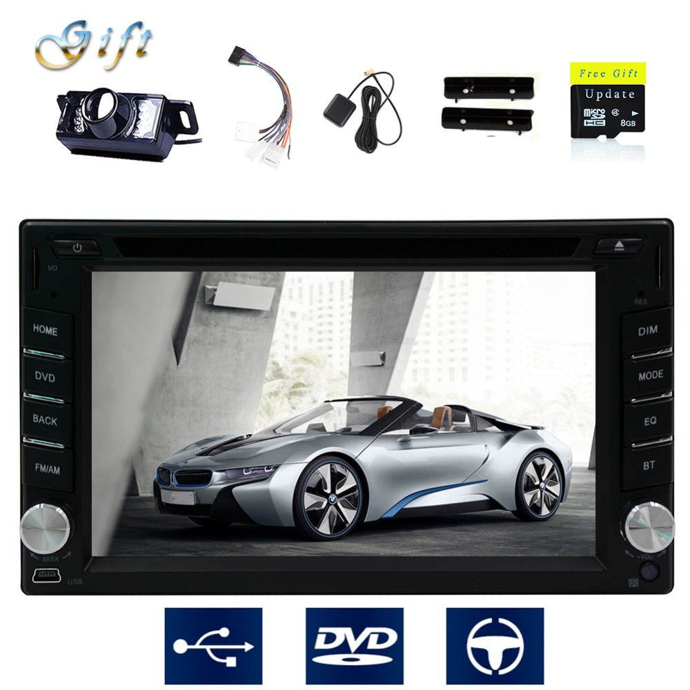 Car radio stereo DVD Player 6.2 inch Double 2 DIN In Dash GPS Navigation Headunit Radio Player Car Audio Bluetooth +Map card(China (Mainland))