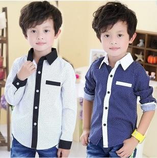2014 new design Turn-down collar long sleeve full boys kids children Shirt, White/Blue Korean stype Casual summer shirt - Happy Angel Baby Online Store store